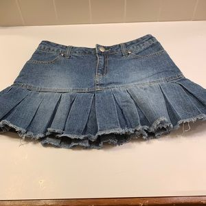 Bubblegum Vintage pleated ruffle denim skort sz 12
